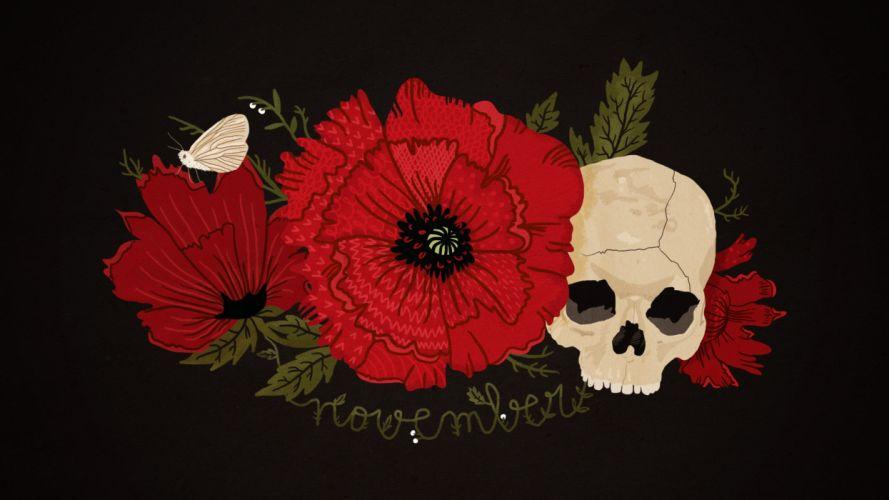 Black red poppy skull butterfly flower November wallpaper