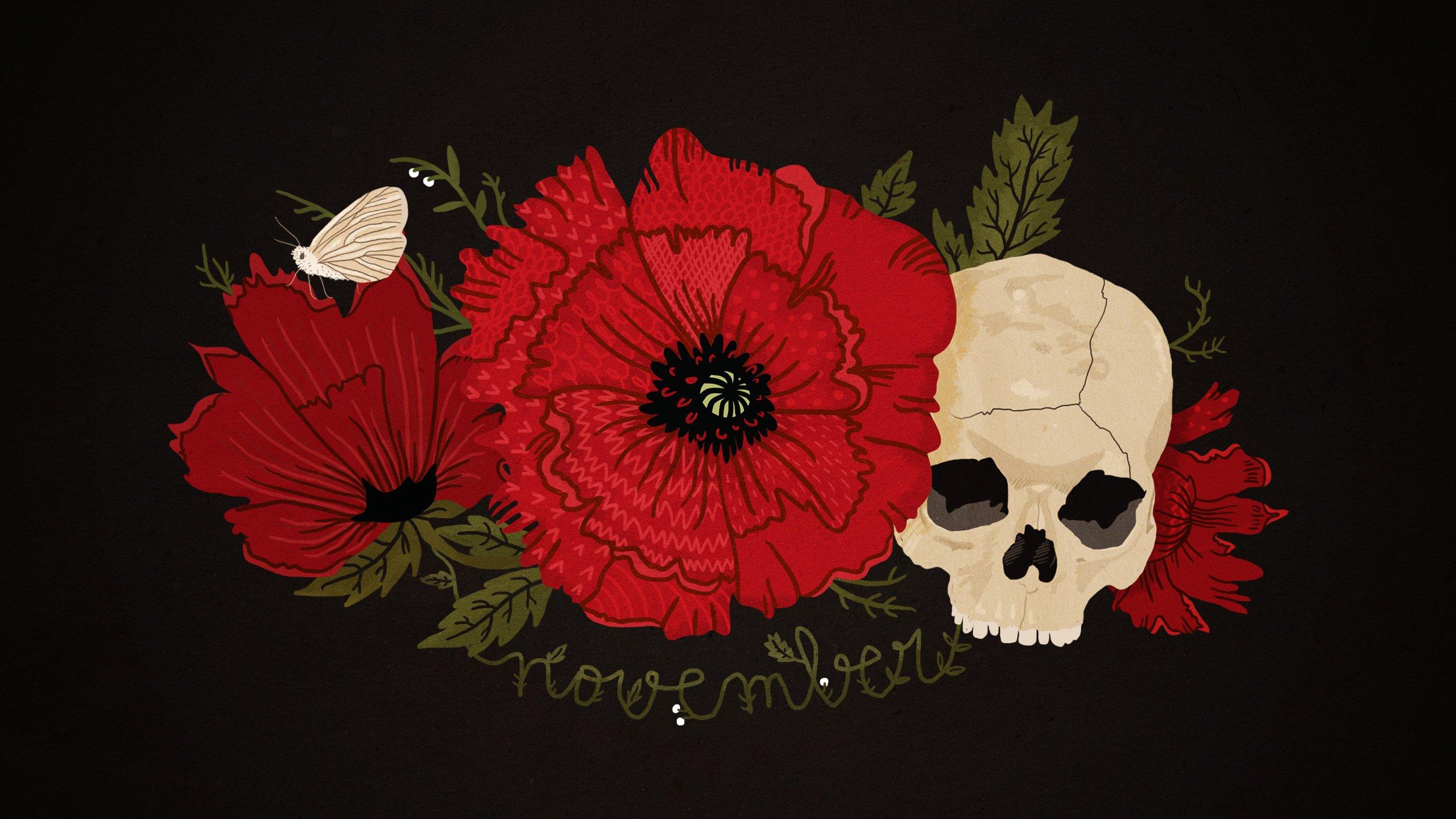 Black red poppy skull butterfly flower November wallpaper 2560x1440