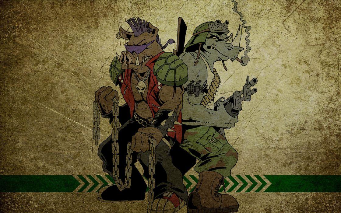 Art comics rocksteady bebop Teenage Mutant Ninja Turtles film Movies movie wallpaper