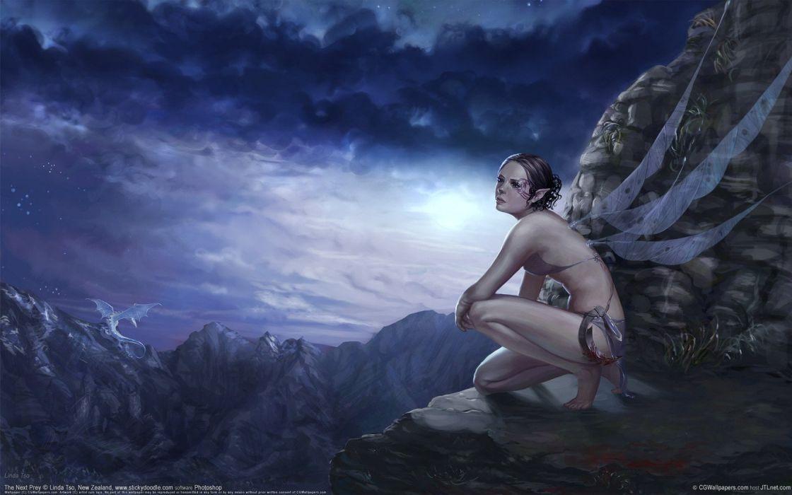 Art fairy tattoo Tattoo dragon wings girl rocks clouds wallpaper