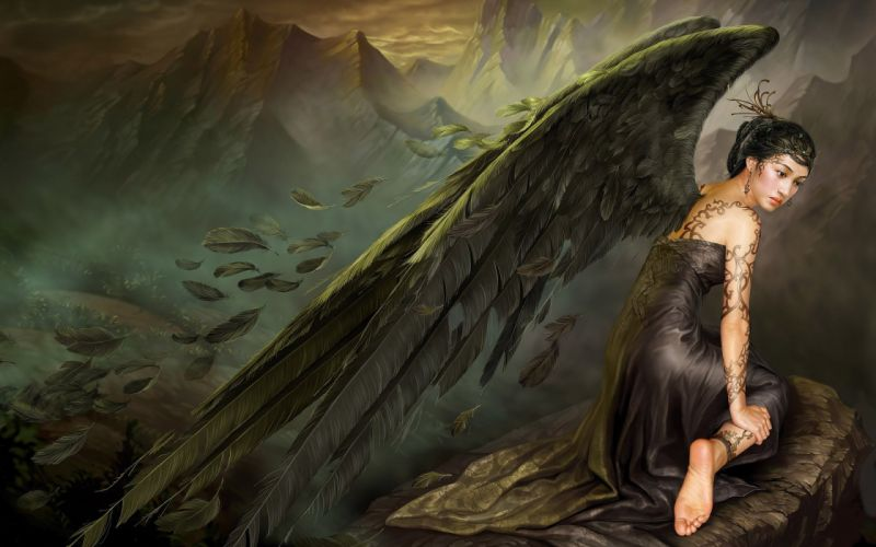 wings Mountains Asia angel feathers stone dress tattoo melancholy wallpaper