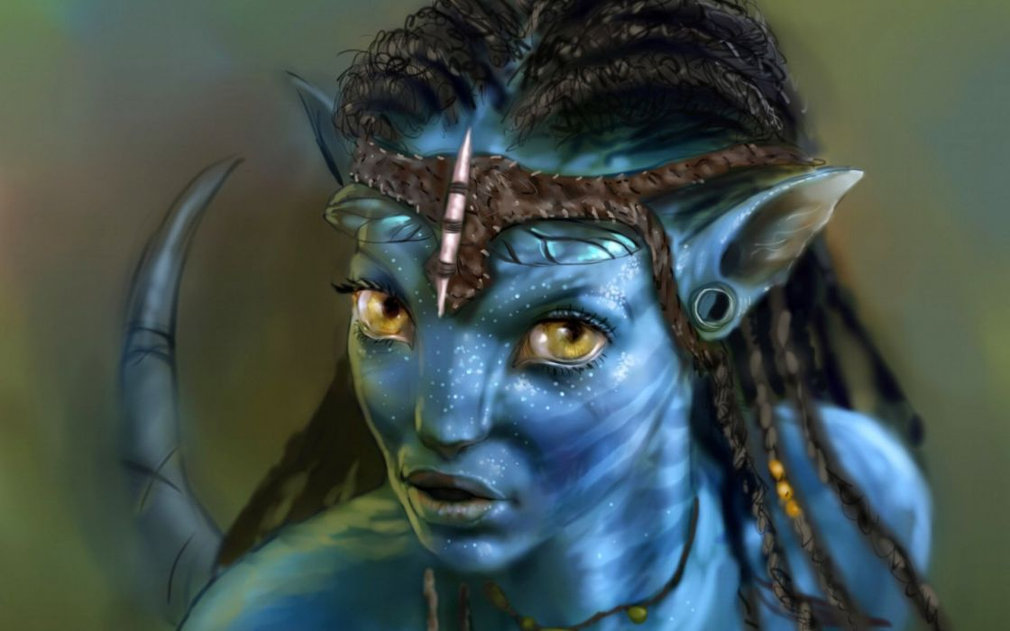 movies avatar character girl blue yellow eyes wallpaper