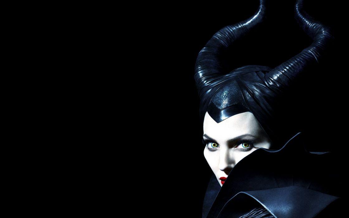 witch Angelina Jolie Horns black background Maleficent wallpaper