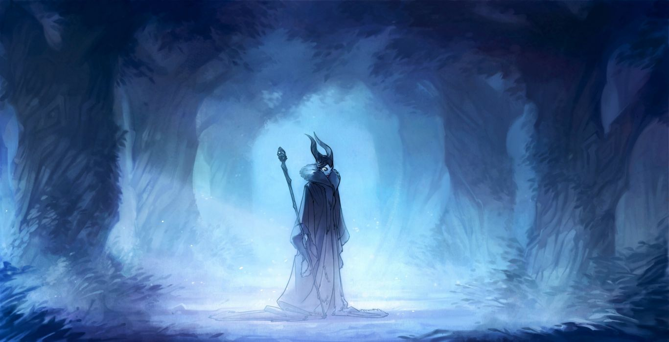 witch Maleficent forest Art wallpaper