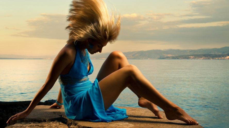 HAIR IN THE WIND - girl blonde dress wallpaper