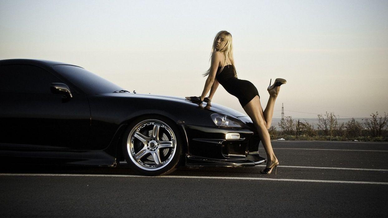 SENSUALITY - girl blonde car legs shoes wallpaper