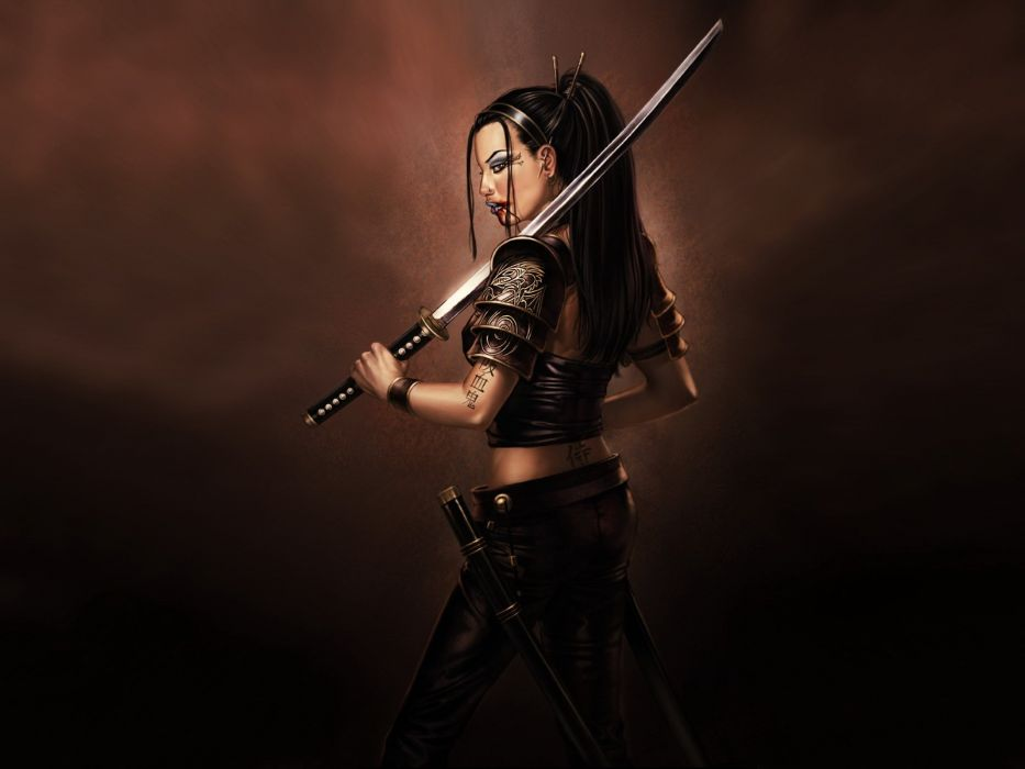 WARRIOR - girl samurai sword Blood tattoos wallpaper