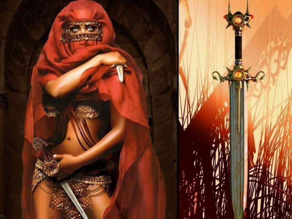 WARRIOR - sword veil burka girl wallpaper