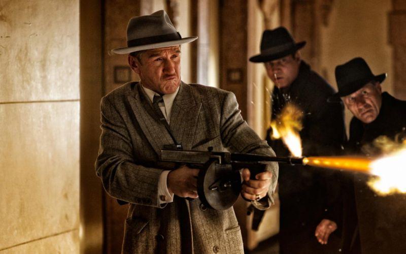 GANGSTER SQUAD mafia action crime drama penn weapon gun machine wallpaper