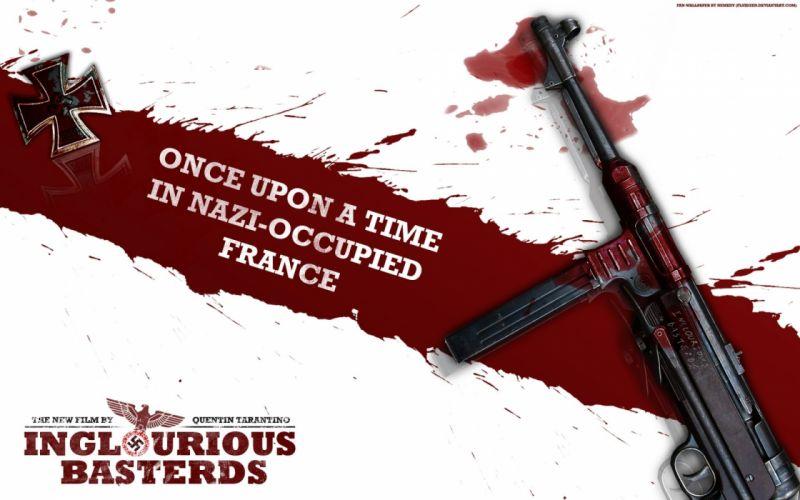 INGLOURIOUS BASTERDS adventure drama war military pitt wwll weapon gun blood wallpaper