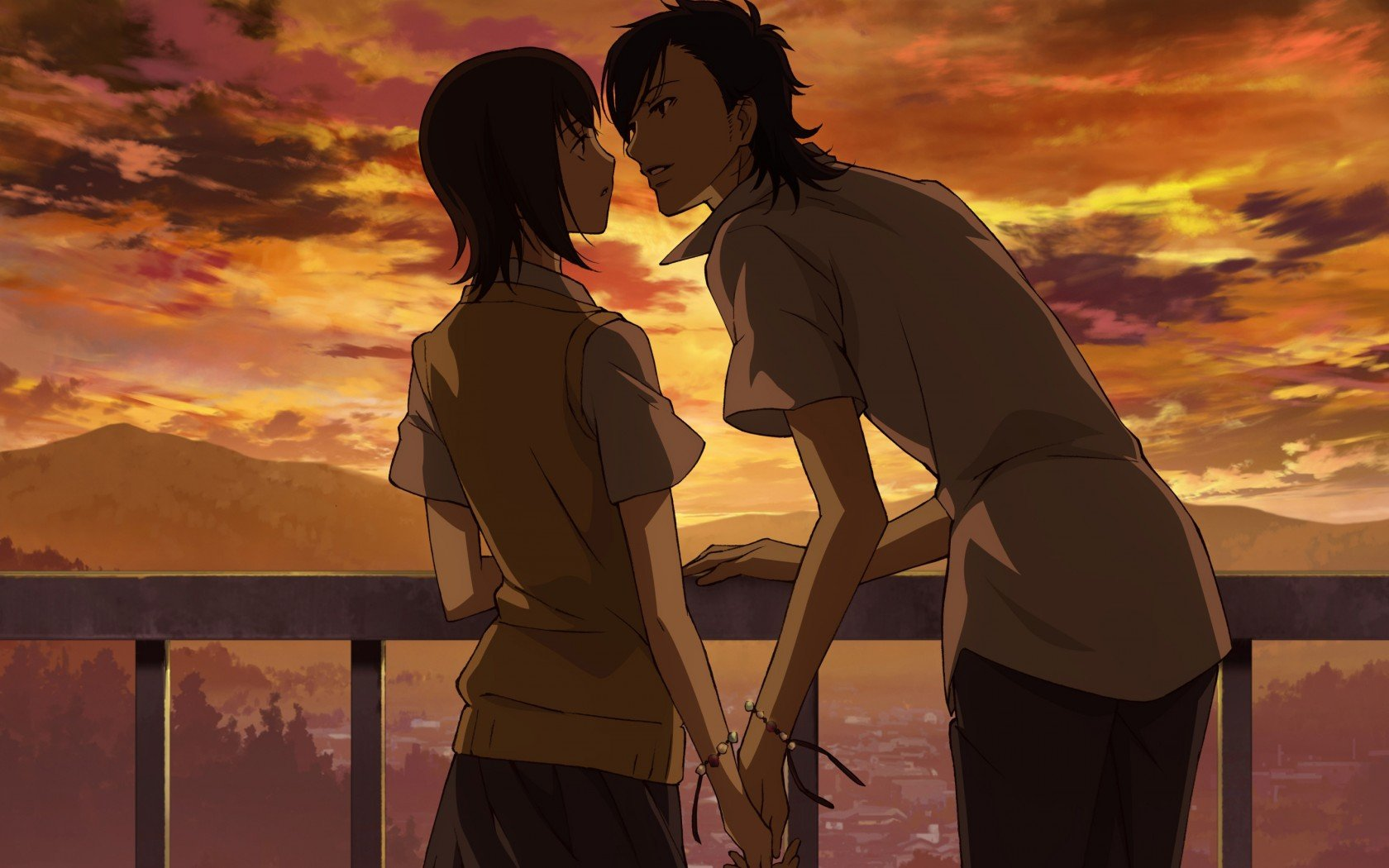 Love anime guy girl sunset clouds holding hands almost ...