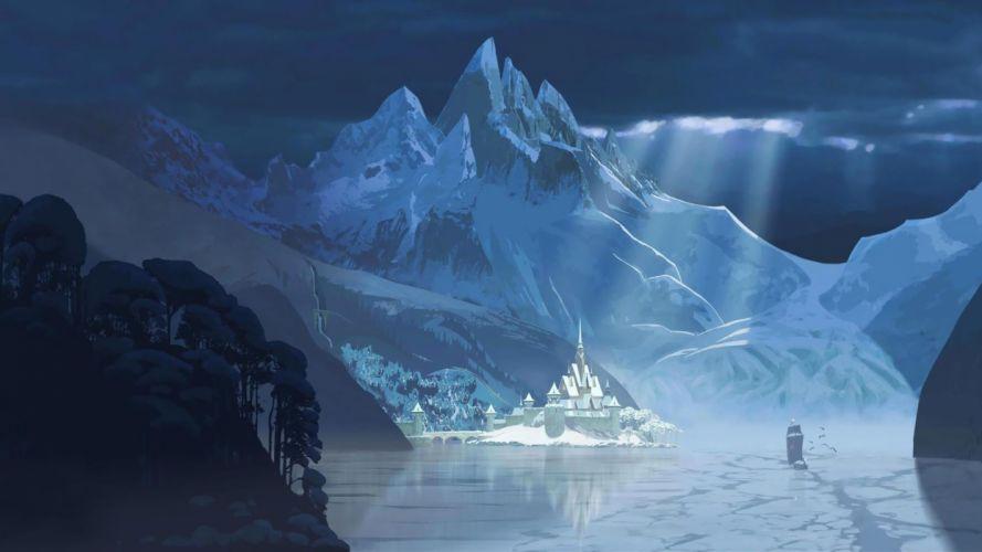 Erendell Cold Heart disney winter Mountains castle harbor wallpaper
