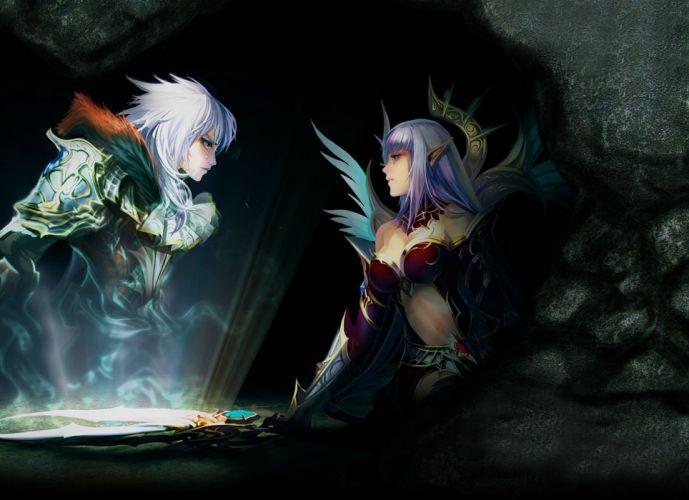 Elves girl guy portal magic magic cave feelings Tears wallpaper