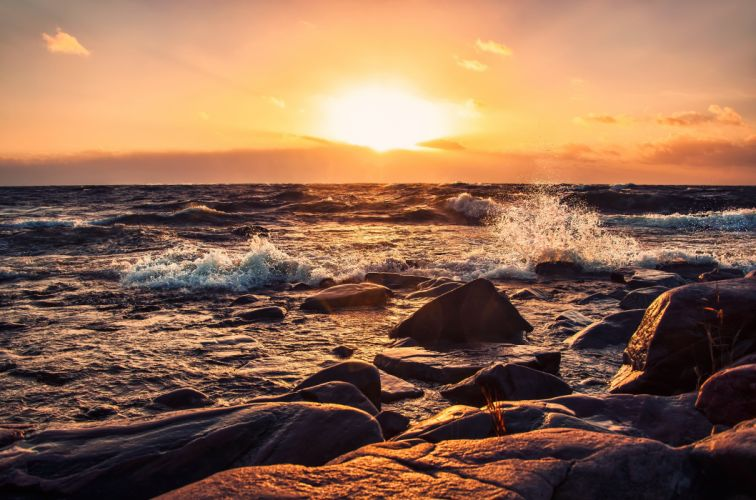 sunset sea Rocks stones waves landscape wallpaper