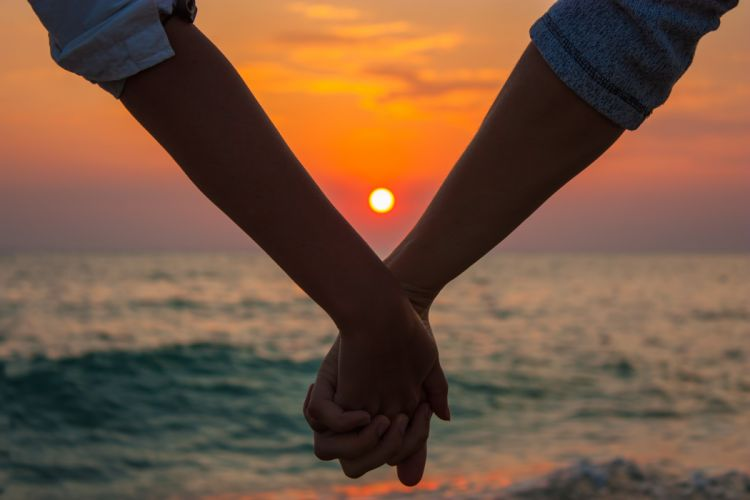sea nature sunset hands love wallpaper
