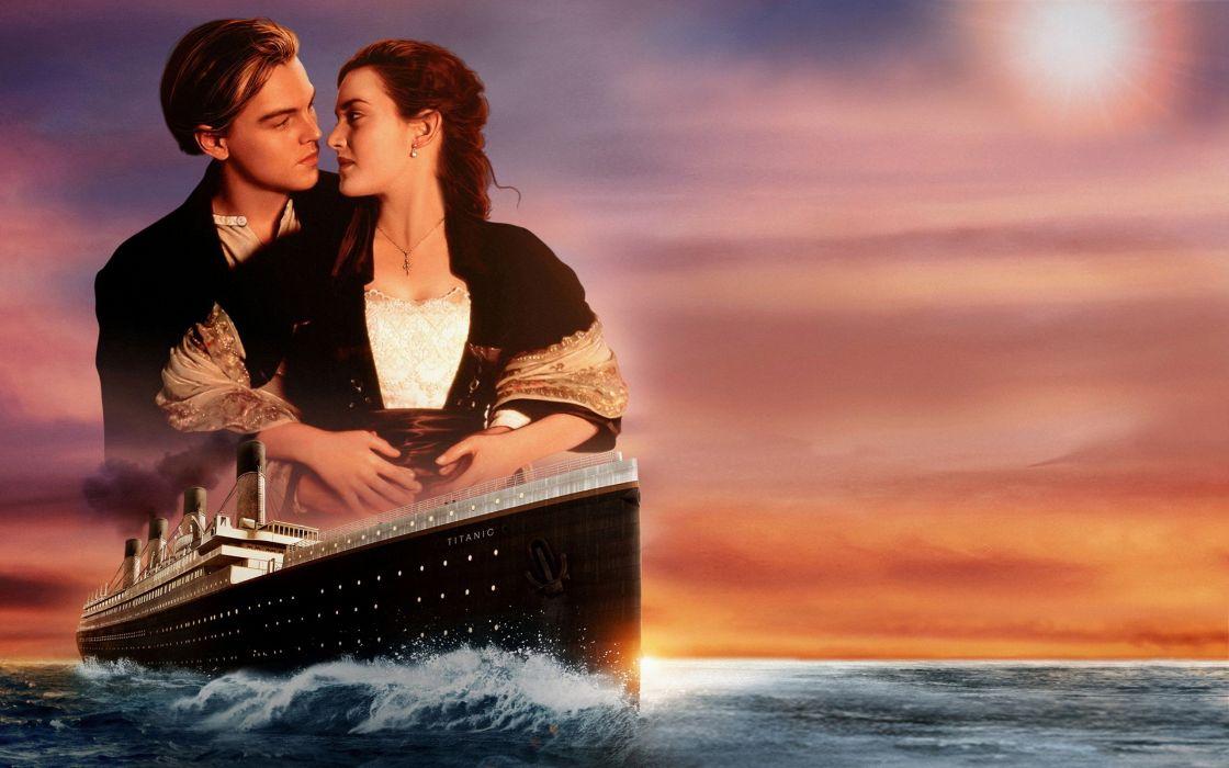 ship Rose Leonardo DiCaprio Kate Winslet Titanic love sunset couple Jack Dawson wallpaper