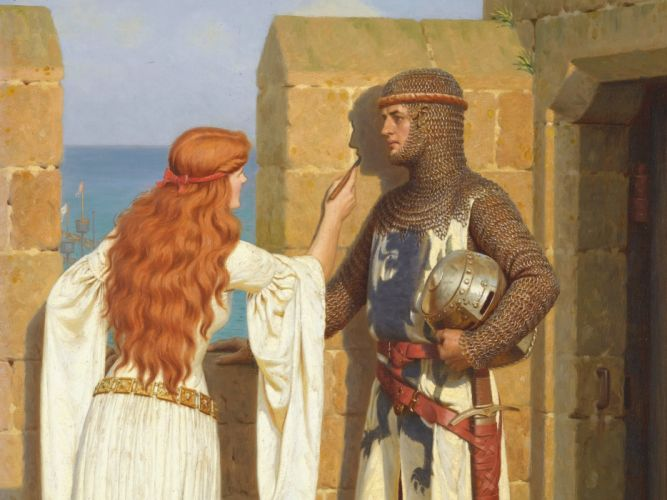 Edmund Blair Leighton armor romanticism drawing virgin Pre-Raphaelite wall picture love Middle Ages castle knight fortress English artist shadow wallpaper