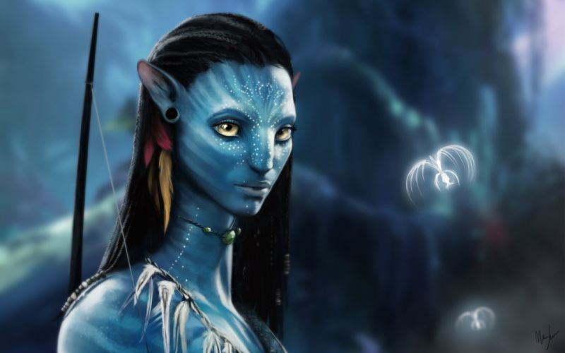 avatar character movies yellow eye tree blue wallpaper