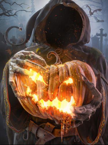 3D-Art--The-Ghost dark hell fire wallpaper