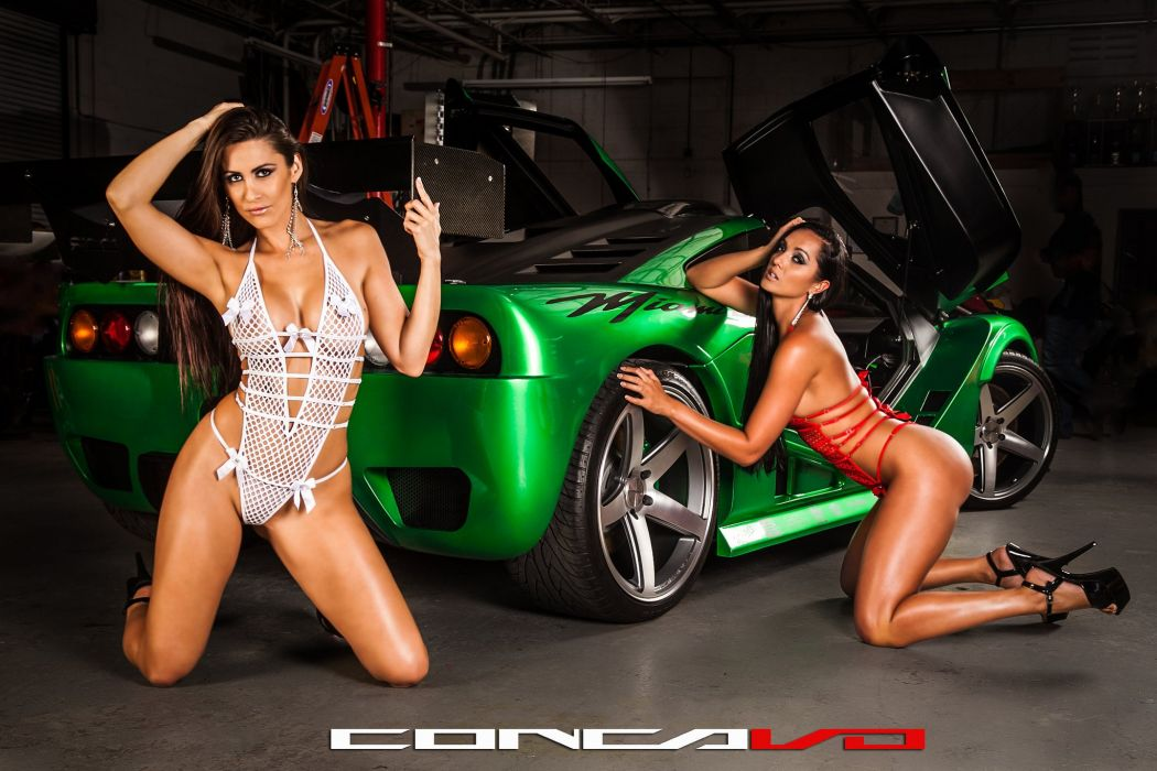Miami GT girls babes Tuning concavo wheels cars wallpaper