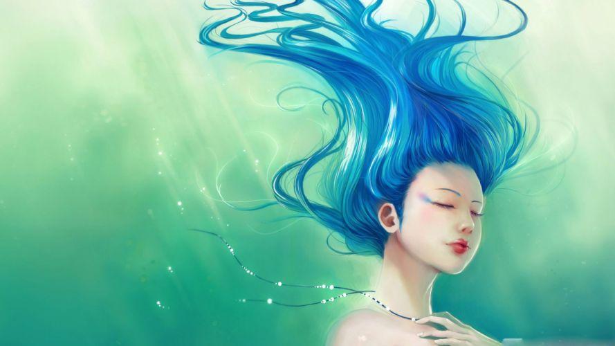 fantasy girl water blue hair red lip beautiful wallpaper