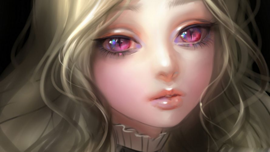 kitty eyes-girl pink blonde painting art wallpaper