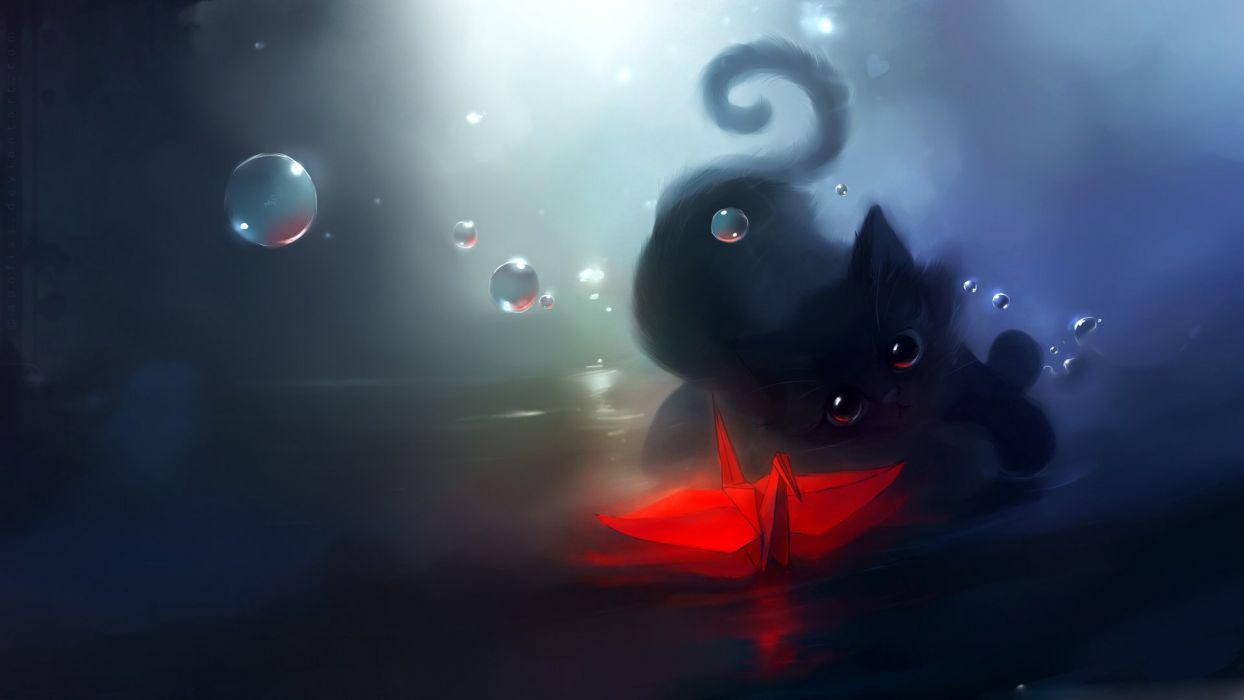 red origami-dark cat bokeh water painting art wallpaper