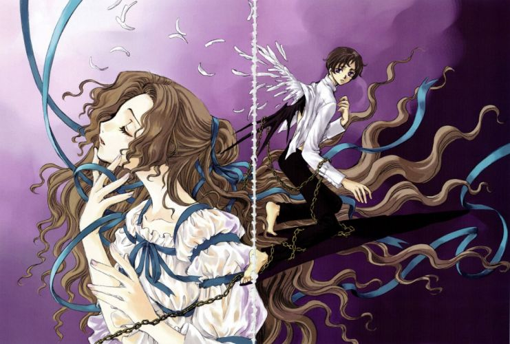 feather anime girl boy long hair wings wallpaper