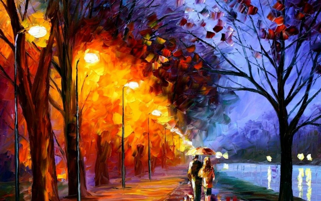 Walk along the waterfront Leonid Afremov tour two umbrella lights paints painting picture Trees Street wallpaper