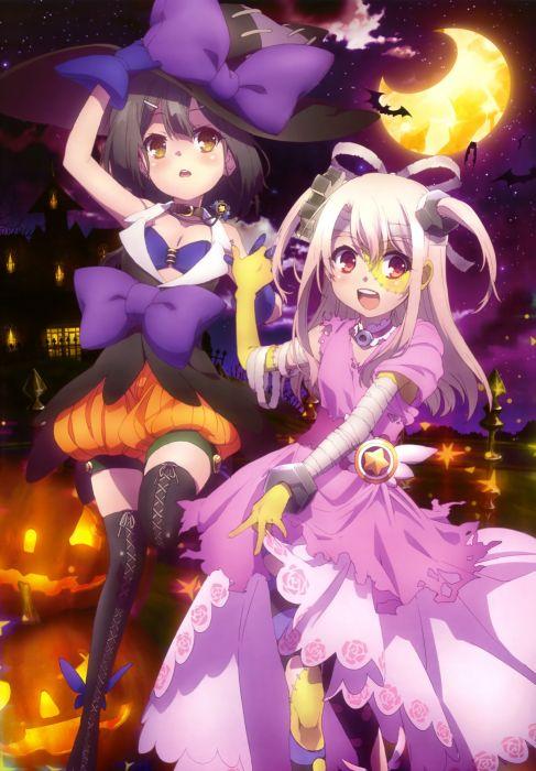 halloween witch candy girls light moon stars wallpaper