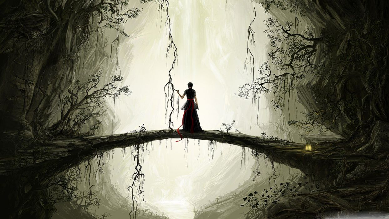 Natural bridge painting forest tree alone girl wallpaper