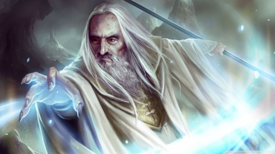 saruman character movie lord of the rings magic wallpaper