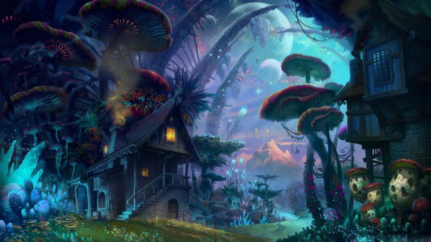tiny world fantasy art light wallpaper