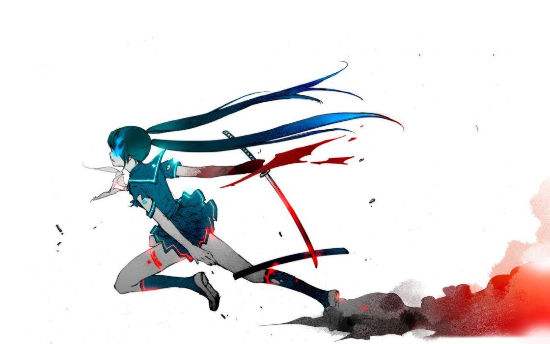 vocaloid-hatsune anime girl character blood sword katana wallpaper