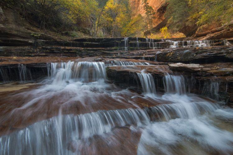 forest autumn waterfall wallpaper