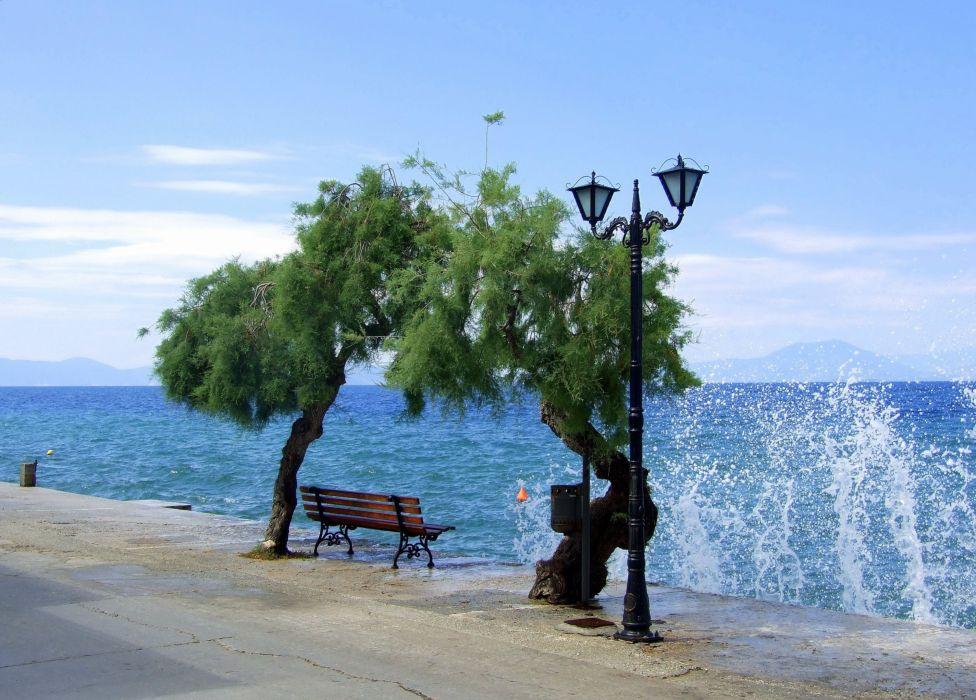 Afissos Pilion Greece ocean sea waves wallpaper