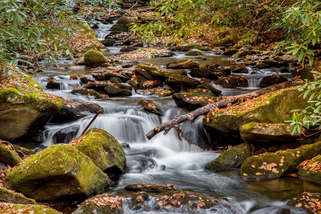 Smoky Mountains National Parc Tennessee autumn river waterfall wallpaper