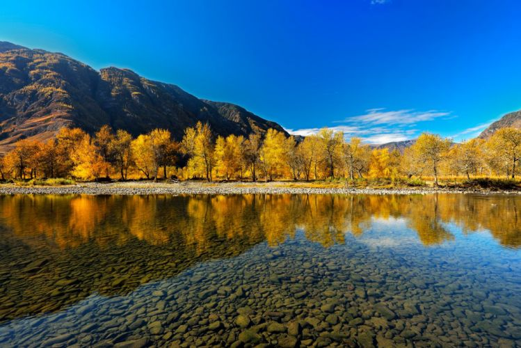 autumn Altai Mountains river reflection wallpaper
