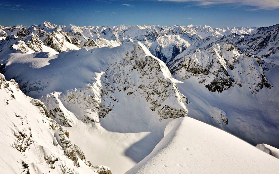 snow top view top mountain ridge wallpaper