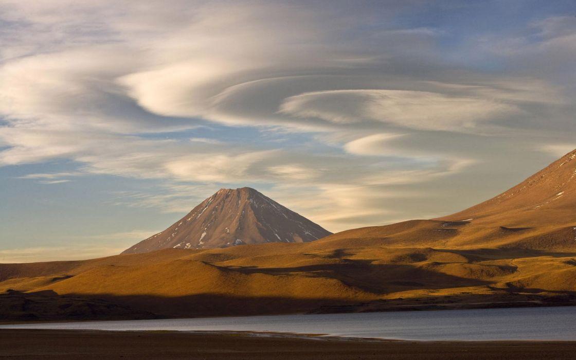 lake clouds hillside mountain sky volcano wallpaper