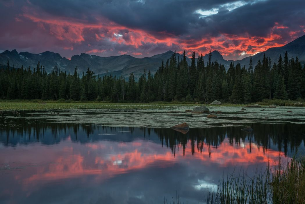 river forest mountains clouds sky clouds reflection wallpaper