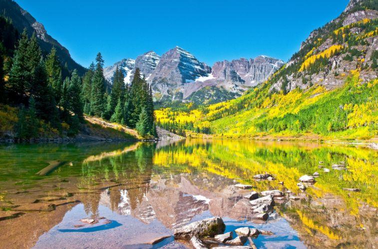Lake autumn sky mountains reflection forest Maroon Bells Colorado Aspen wallpaper