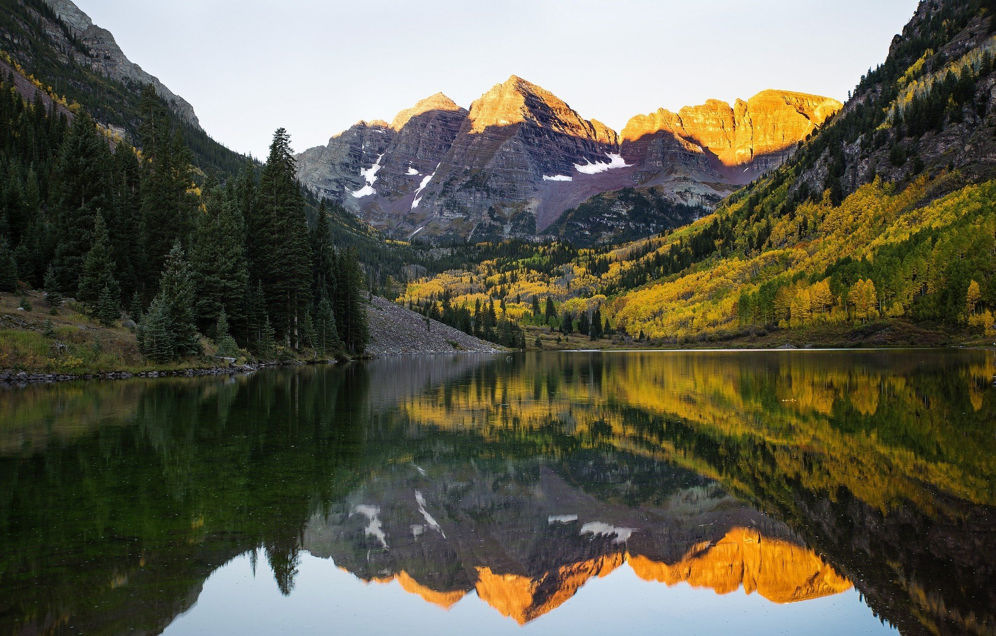 lake mountains reflection forest snow forest maroon bells