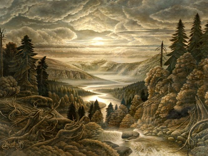 BLUT AUS NORD black metal industrial experimental symphonic fantasy landscape painting wallpaper