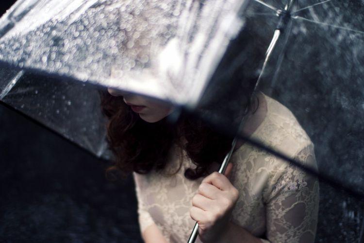 girl umbrella rain wallpaper