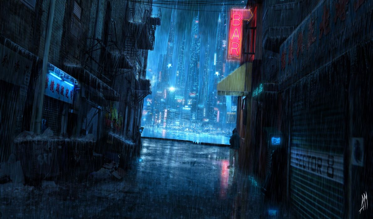 Rain City Lights Night Future Wallpaper