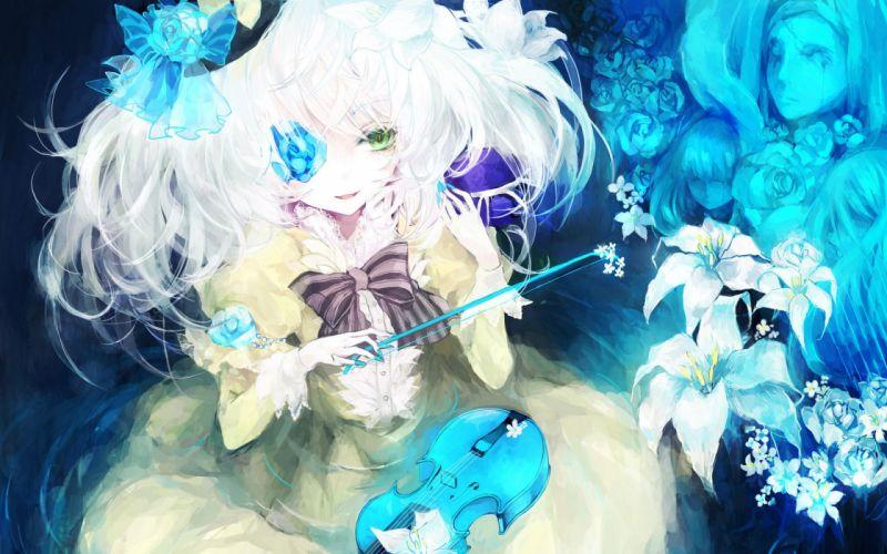 flower painting blue violin girl musA wallpaper