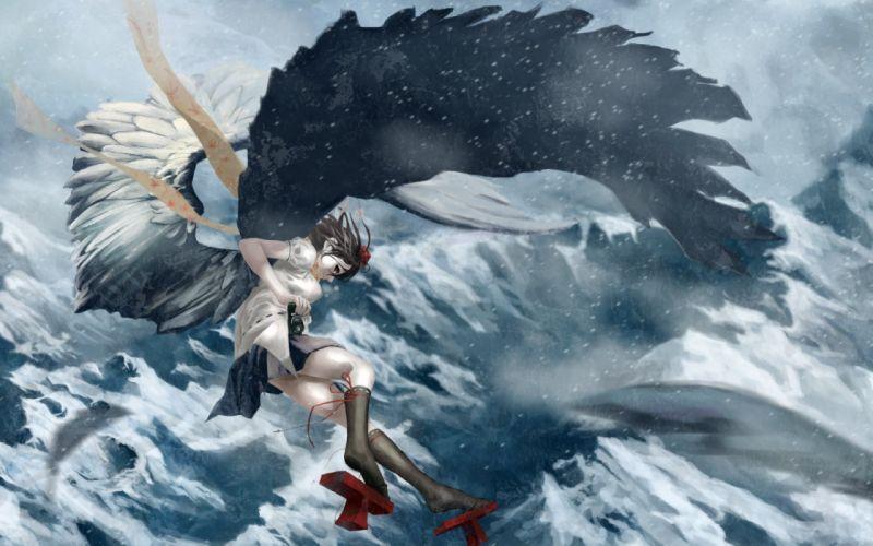 anime girl fly cloud sky wing mountain snow wallpaper