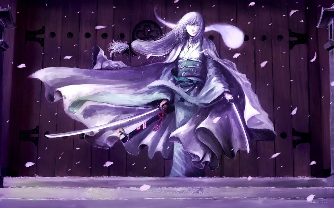 snow samurai girl katana sword kimono warrior flower pink door wallpaper