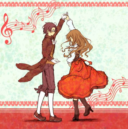 anime couple dance music notes cute wallpaper